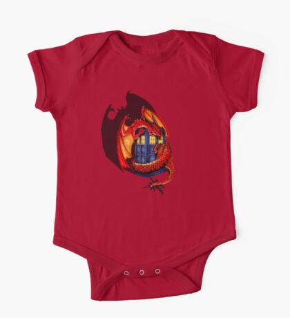 Blue phone box with Smaug The Red wyvern dragon One Piece - Short Sleeve