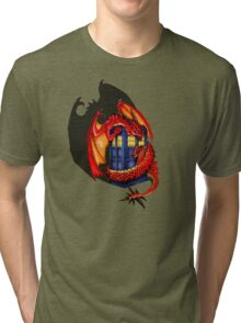 Blue phone box with Smaug The Red wyvern dragon Tri-blend T-Shirt