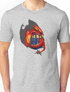 Blue phone box with Smaug The Red wyvern dragon Unisex T-Shirt