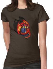 Blue phone box with Smaug The Red wyvern dragon Womens Fitted T-Shirt