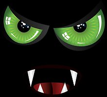 Evil face with green eyes by AnnArtshock