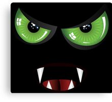 Evil face with green eyes Canvas Print
