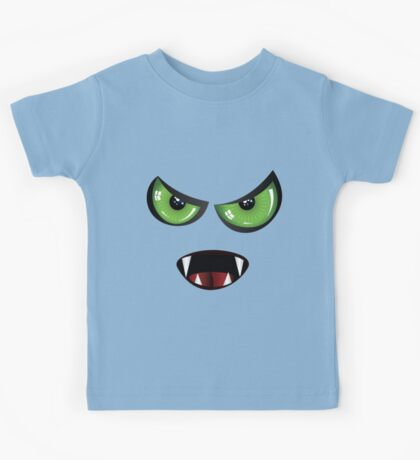 Evil face with green eyes Kids Tee