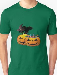 Halloween card with pumpkins and cat T-Shirt