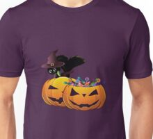 Halloween card with pumpkins and cat Unisex T-Shirt