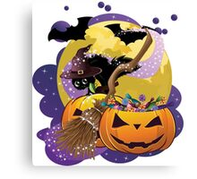Halloween card with pumpkins and cat 2 Canvas Print