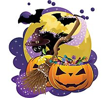 Halloween card with pumpkins and cat 2 Photographic Print
