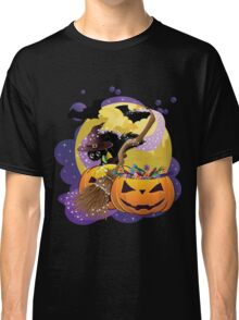 Halloween card with pumpkins and cat 2 Classic T-Shirt