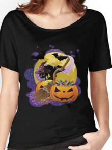 Halloween card with pumpkins and cat 2 Women's Relaxed Fit T-Shirt
