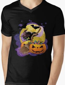 Halloween card with pumpkins and cat 2 Mens V-Neck T-Shirt