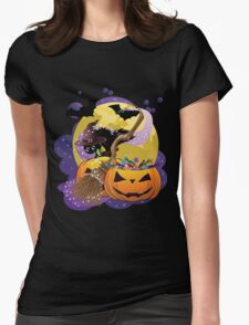 Halloween card with pumpkins and cat 2 Womens Fitted T-Shirt