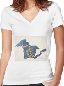 Great Plate State Women's Fitted V-Neck T-Shirt