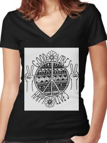 Good Vibes Happy Lives Women's Fitted V-Neck T-Shirt
