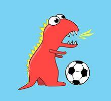 Funny Cartoon Dinosaur Soccer by Boriana Giormova