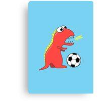 Funny Cartoon Dinosaur Soccer Canvas Print