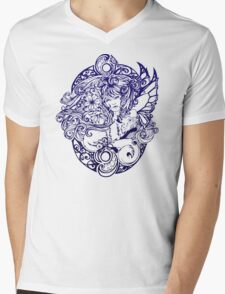 Lady Fox and Lilies Mens V-Neck T-Shirt