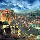 Thunderstorm over Meteora, Greece. by F.A. Moore