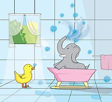 Elephant Bath Time by shanmclean