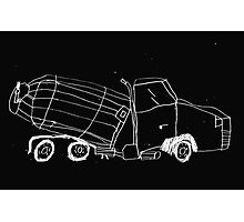a cement mixer drawn by a kid Photographic Print