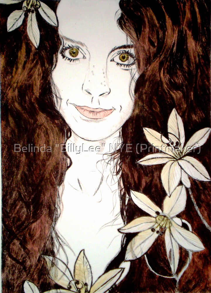 "Hippy Chick - Etching by Belinda ""BillyLee"" NYE (Printmaker)"