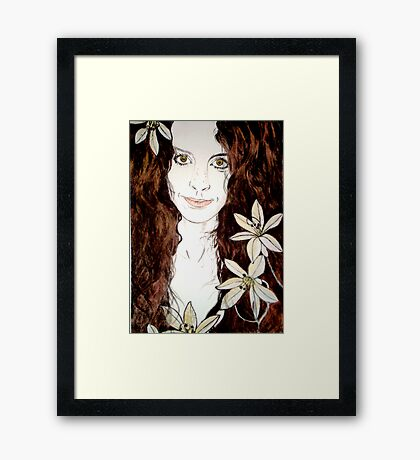 Hippy Chick - Etching Framed Print
