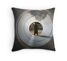 Even Time Travellers Wait For Buses Throw Pillow