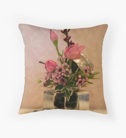 Petite Roses in the Inkwell © Throw Pillow