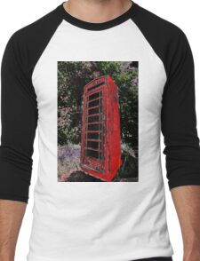 Red Phone Box Men's Baseball ¾ T-Shirt