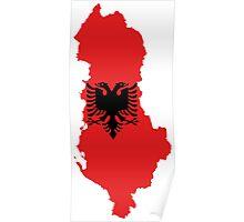 Albania Flag Map Poster