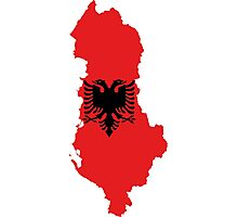 Albania Flag Map Photographic Print