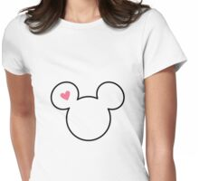 Mickey heart Womens Fitted T-Shirt