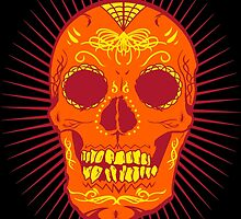 Calavera Skull - Orange by joebarondesign