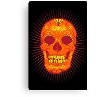 Calavera Skull - Orange Canvas Print