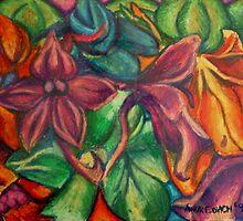 Flowers in oil pastel by tonyarama