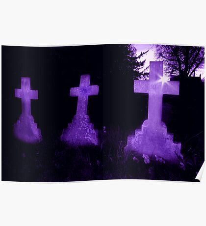 Purple Crosses Poster