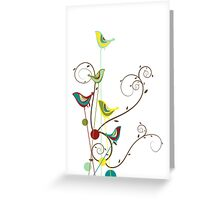 Colorful Whimsical Summer Birds and Swirls Greeting Card