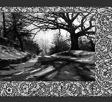 Winter Scene of Road with Big Branching Tree by toots
