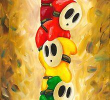 Rainbow of Shy Guys! Super Mario Bros Fan Art by Katie Clark
