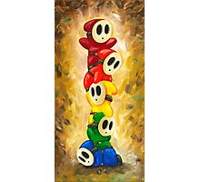 Rainbow of Shy Guys! Super Mario Bros Fan Art Photographic Print