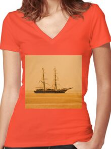 Tall Ship Women's Fitted V-Neck T-Shirt