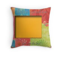 Frame to Sign with Flowers and Butterfly in Orange, Yellow, and Green Throw Pillow