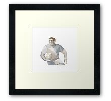 Rugby Player Running Low Polygon Framed Print