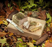 Autumnal still life composition with lard and bread by enolabrain
