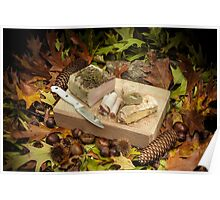 Autumnal still life composition with lard and bread Poster