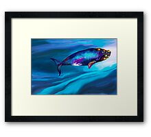 BowHead WHale Swimming Along Framed Print