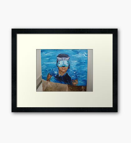 chris in the pool Framed Print