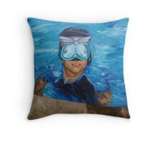 chris in the pool Throw Pillow