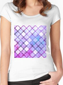 Purple Tiled Geometric Design Women's Fitted Scoop T-Shirt