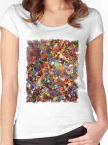 Abstract Original Art Titled; Wild Colors  Women's Fitted Scoop T-Shirt