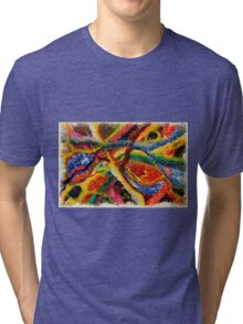 Abstract Art Acrylic Painting Original Canvas Art Titled: Wild Colors Tri-blend T-Shirt
